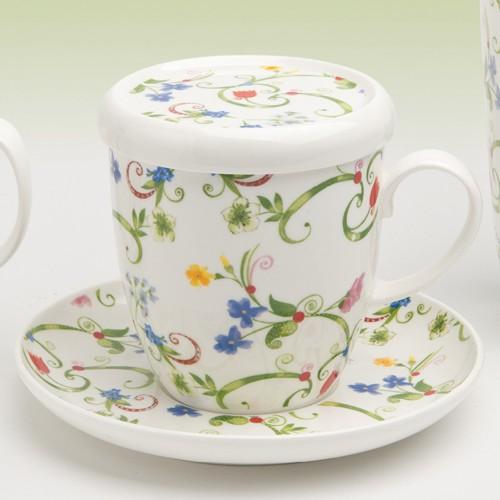 4 Teetassen Bone China Porzellan Tasse mit Sieb und Deckel
