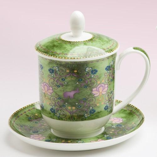 Teetasse mit Sieb und Deckel Lotta Bone China Porzellan