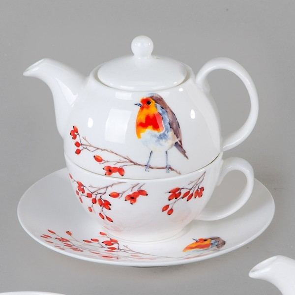 Bild von Tea For One Set Robin Rotkehlchen Roy Kirkham