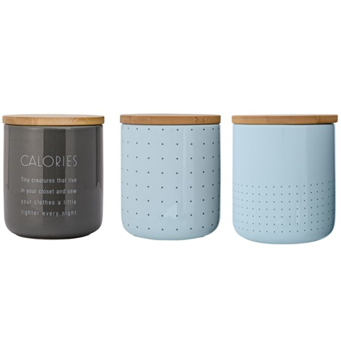 Vorratsdose 3er-Set Steingut mit Bambusdeckel Bloomingville mittel blaugrau//grau