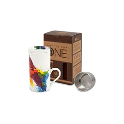 Bild von Kaffeebereiter mit Tasse Coffee for One On Colour