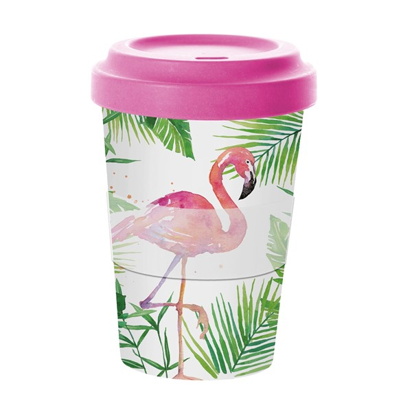 Bild von Tropical Flamingo Bambus Travel Mug Coffee to go