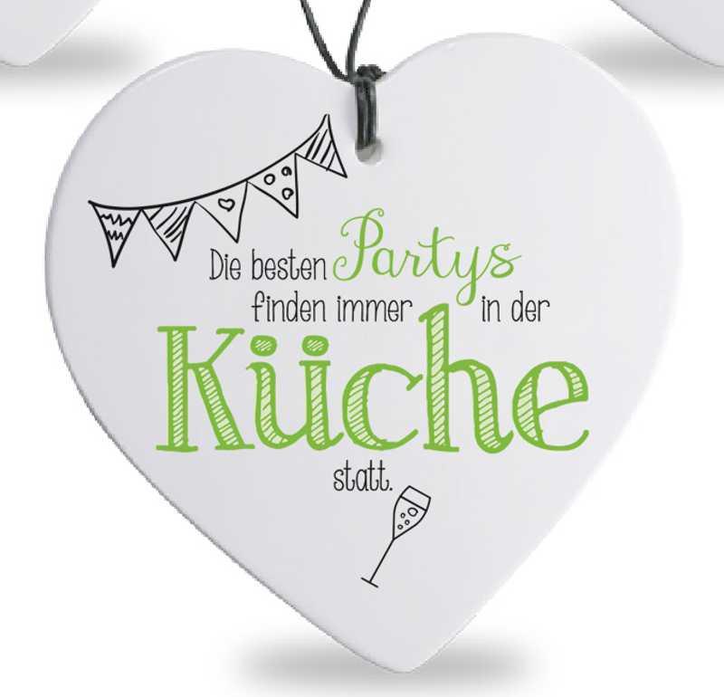 Herz mit Spruch Partys in Küche