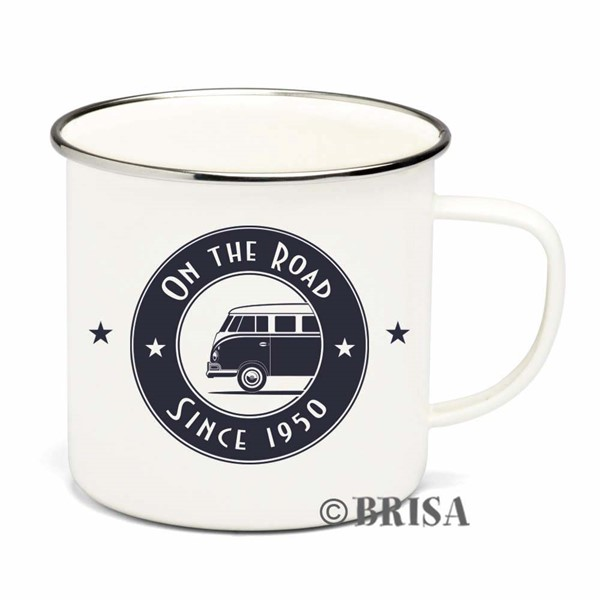 Bild von VW T1 Bus emailliert On the Road Tasse Kaffeebecher